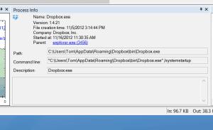 screenshot: individual process data