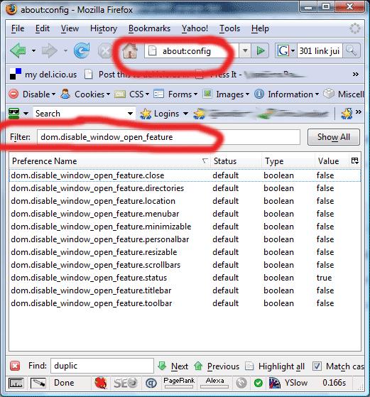 Firefox configuration defaults