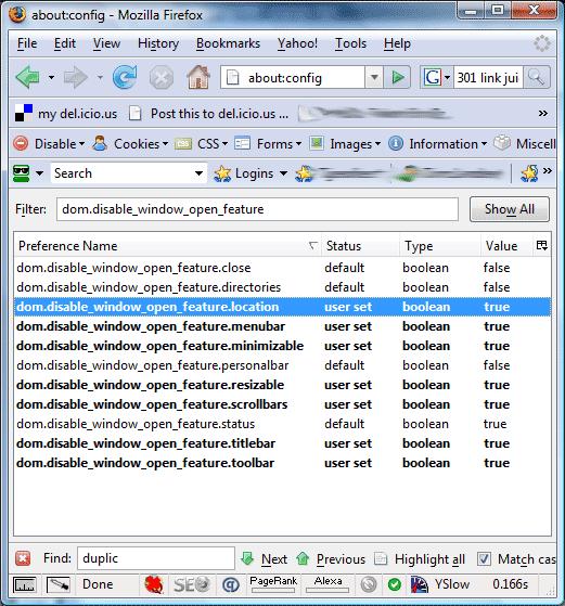 Firefox popup friendly settings