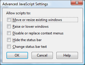 Advanced Javascript Settings Dialog Box