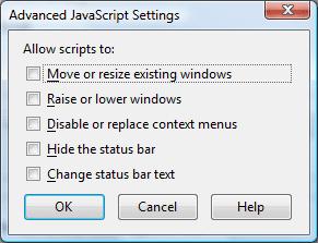 Advanced Javascript Settings Dialog Box
