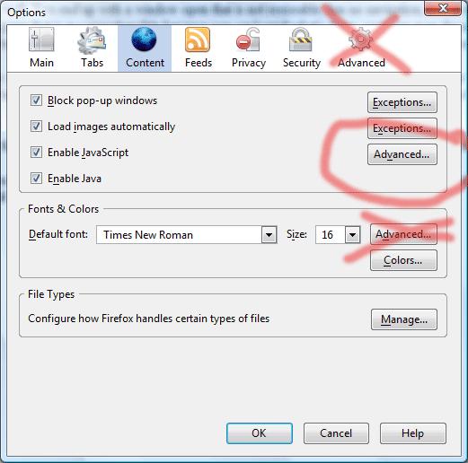 Firefox Advanced Content options screen