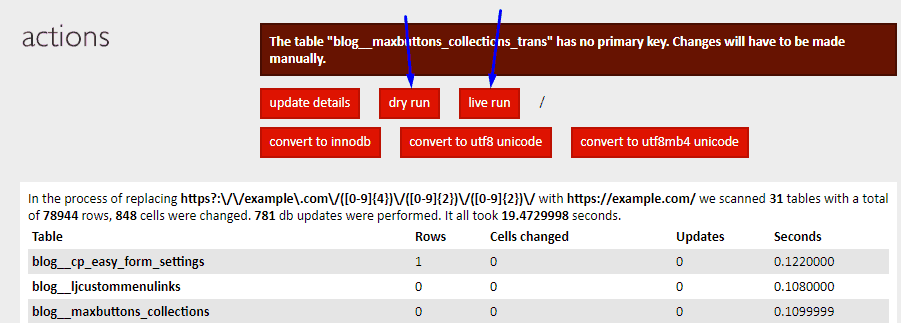 screenshot of Interconnect IT Database Search and Replace Actions