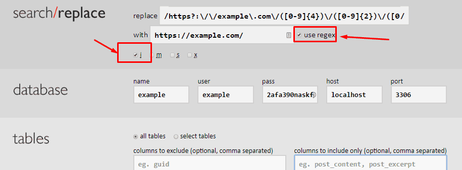 screenshot of Interconnect IT Database Search and Replace Settings