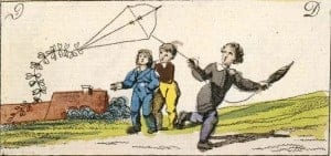 Boys flying a kite