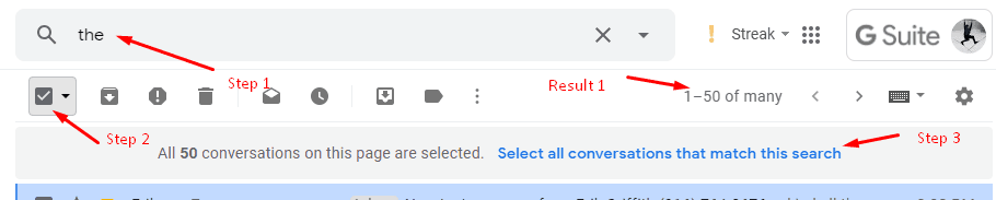 Screenshot of GMail search results with link to select all messages matching the search