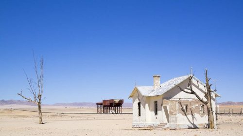 Picture of abandoned railway station in the desert