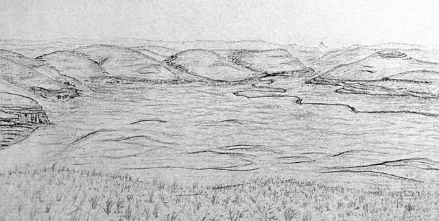 Pencil drawing of rolling hills of Twenty Hill Hollow